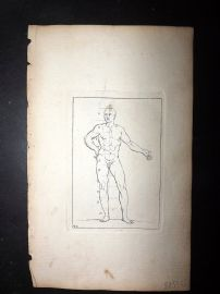 Sayer Compleat Drawing-Book 1757 Antique Print. Study of Body 42